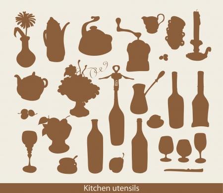 chamomile tea: set of images of kitchen ware