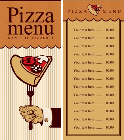menu with a hand fork and pizza Vector