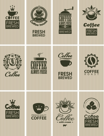 set of vintage cards on coffee Vector