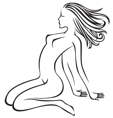 silhouette of a naked young girl