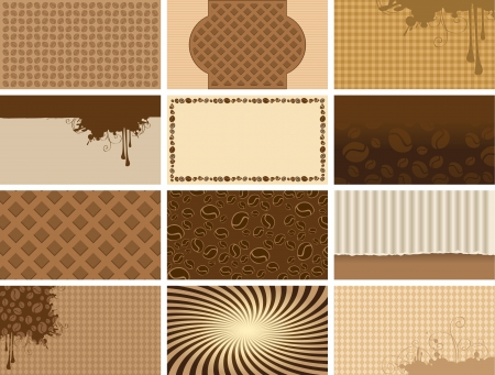 coffee stain: coffee set backgrounds for business cards Illustration