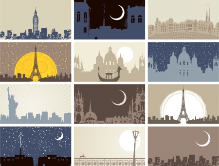 night: set of business cards with historic urban landscapes Illustration