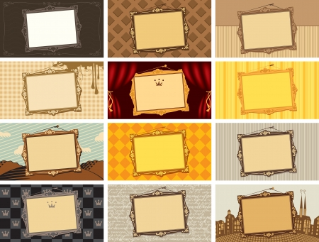 set of business cards with a picture frame on different backgrounds Stock Vector - 20323348