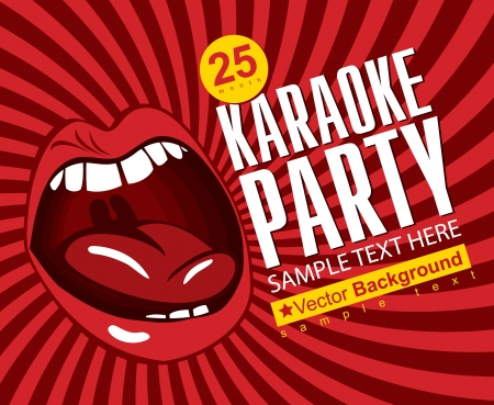 red banner with mouth singing karaoke Vector