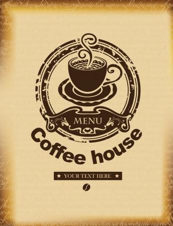 granos de cafe: bandera para un café sobre un fondo de papiro antiguo