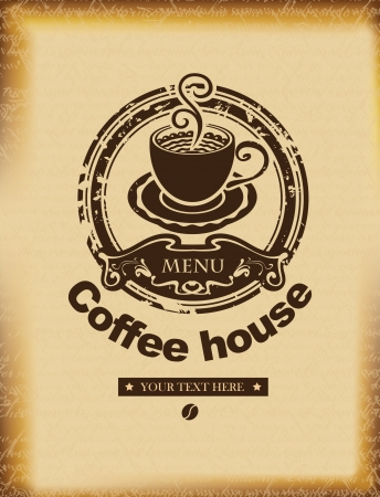 cafe sign: banner for a coffee house on a background of ancient papyrus Illustration