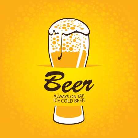 banner with glass of beer on a yellow background Vector