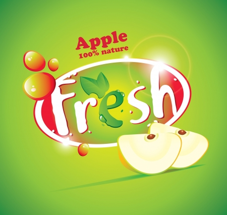 multivitamin: banner with slices of apple and the words Fresh