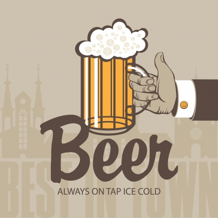 beer house: hand with a glass of beer in the background of the old town Illustration