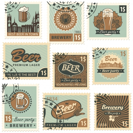 beer drinking: set of postal stamps on theme of beer and brewery