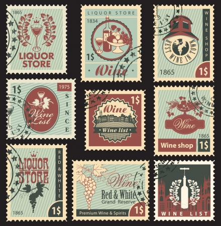 set of postal stamps on theme of wine and liquor 向量圖像