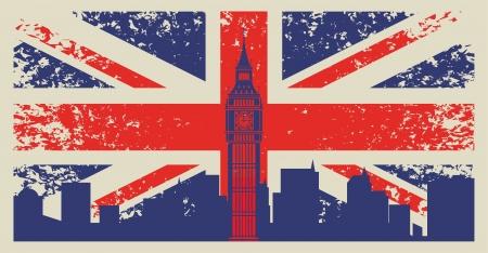 grunge cross: Gran Bretagna bandiera e il Big Ben a Londra Vettoriali