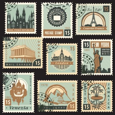 set van postzegels uit verschillende landen met architecturale monumenten