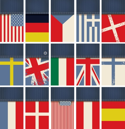 set of business cards from jeans fabric with flags of different countries Vector