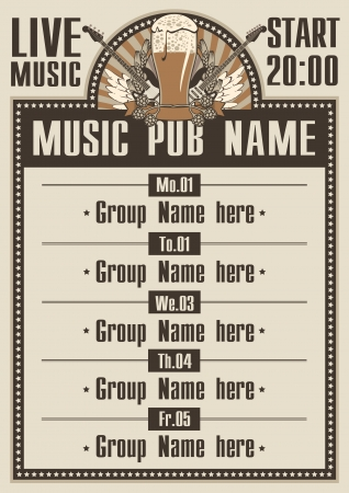 Playbill for the musical pub with live music Vector