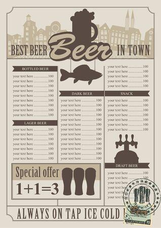 retro pub menu for the Price Vector