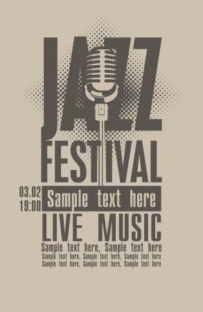 blatt: Plakat für das Jazz-Festival mit einem Retro-Mikrofon