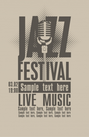 sheet music: Poster for the jazz festival with a retro microphone Illustration