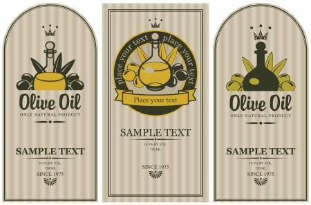 hoja de olivo: conjunto de etiquetas de aceite de oliva