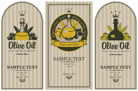 olive leaves: set of labels for olive oils