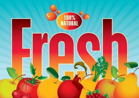 pomegranate juice: banner for juices and fresh fruit Illustration