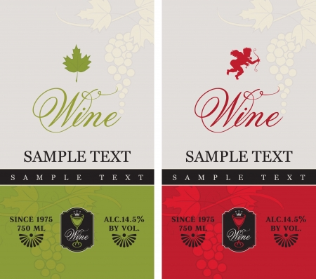 two labels for red and white wine with grapes and Cupid
