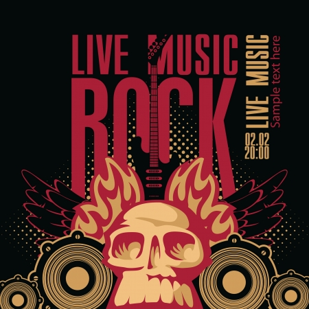 poster for a rock concert with a human skull and electric guitar Vector