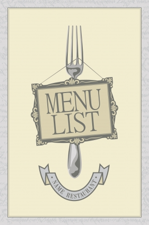 menu with a fork and picture frame Vector