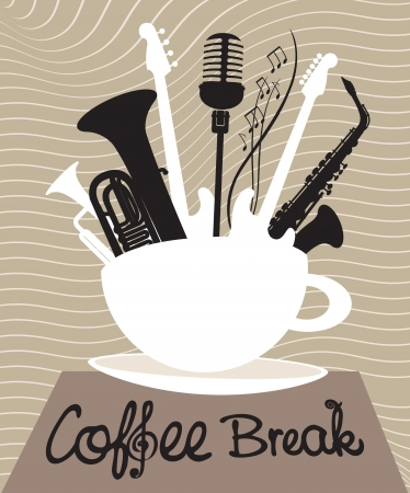 coffee breaks: cup of coffee with different musical instruments