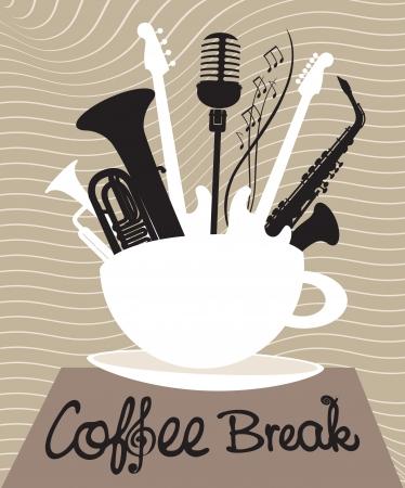 breaks: taza de caf� con diferentes instrumentos musicales