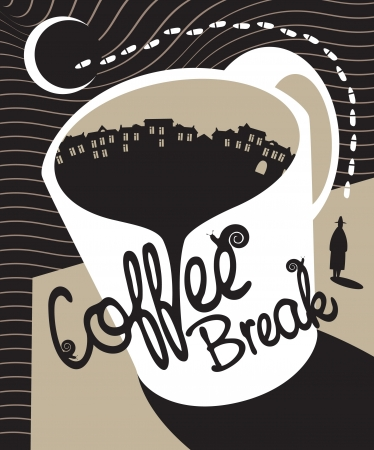 sidewalk cafe: Cup of coffee at night urban landscape Illustration