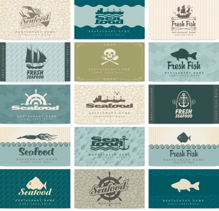 raw fish: set of business cards on seafood