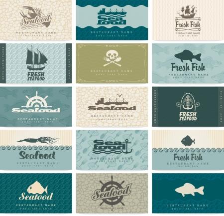 owoce morza: zestaw wizytówek na owoce morza Ilustracja