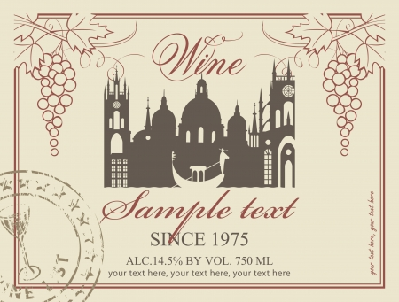 wine label: wine label with the old town and a bunch of grapes Illustration