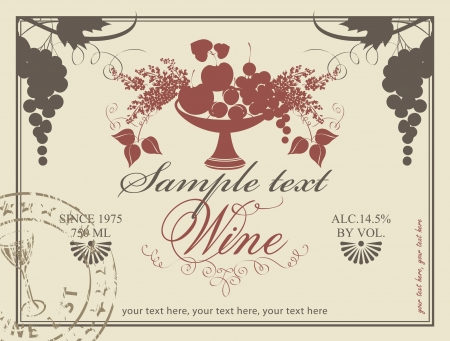 label for wine with a bowl of fruit and lilac Vector