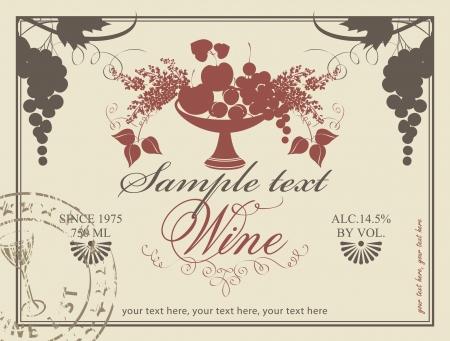 label voor wijn met een fruitschaal en lila