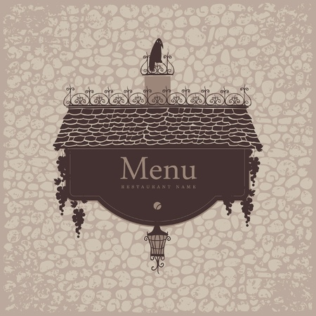banner for menu with the old roof lantern and grapes on a stone wall background Stock Vector - 20900250