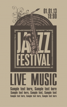 poster for the jazz festival with a saxophone and a vinyl record Vector