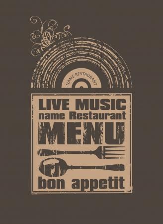 jazz club: Retro menu for a restaurant with live music