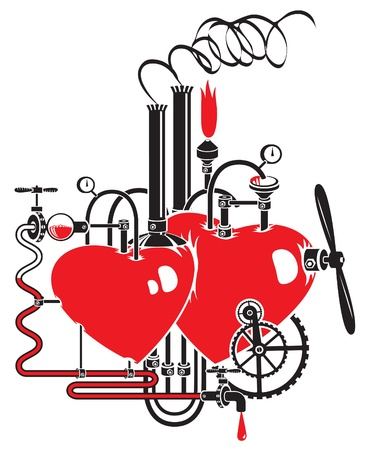 love factory  Two hearts connected by different mechanisms and pipes Stock Vector - 21012544
