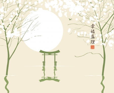 Spring landscape in the style of Chinese watercolor painting with trees and river  Small characters Happiness and Truth