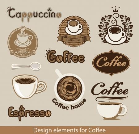 granos de cafe: conjunto de elementos de diseño sobre el tema del café