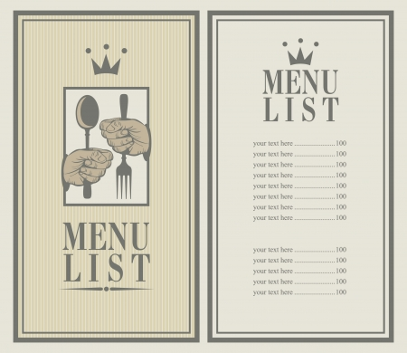 menu with cutlery in hand and a crown Vector