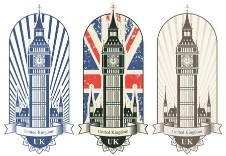 brytanii: trzy plakaty z Big Ben i brytyjski flag