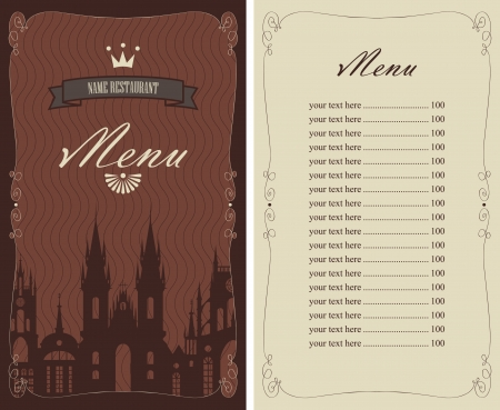 menu with a picture of the old city and the crown Stock Vector - 21823246