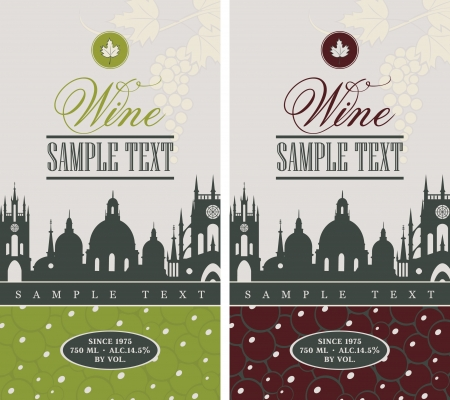 wine label design: wine label with the old town and a bunch of grapes Illustration