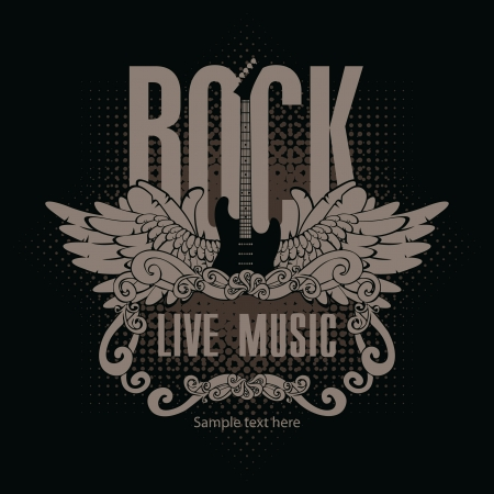 concierto de rock: Bandera de la plaza con una guitarra y las alas y las palabras de la música rock en un fondo negro