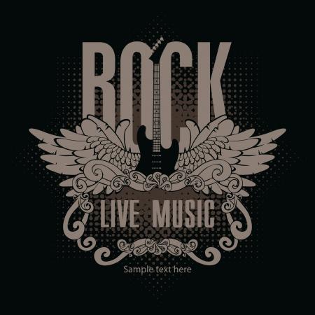 vierkante banner met een gitaar en vleugels en de woorden van rockmuziek op een zwarte achtergrond