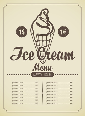 price list for ice cream in a retro style Vector