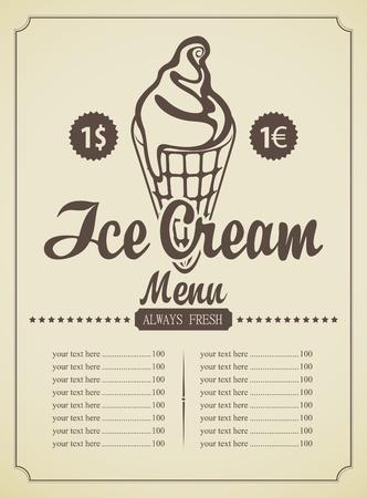 price list: price list for ice cream in a retro style